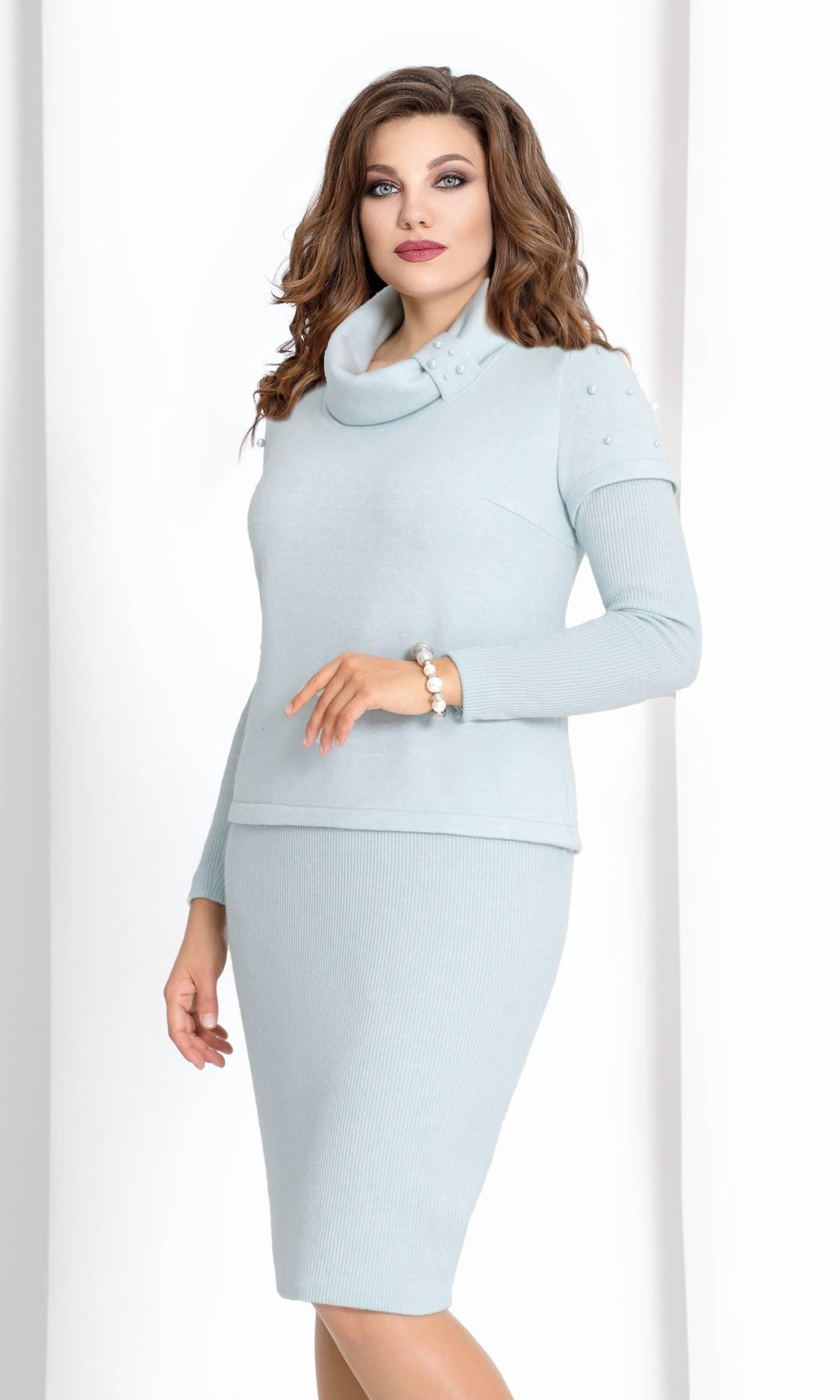 Платье Vittoria Queen 6933-Р серо-голубое