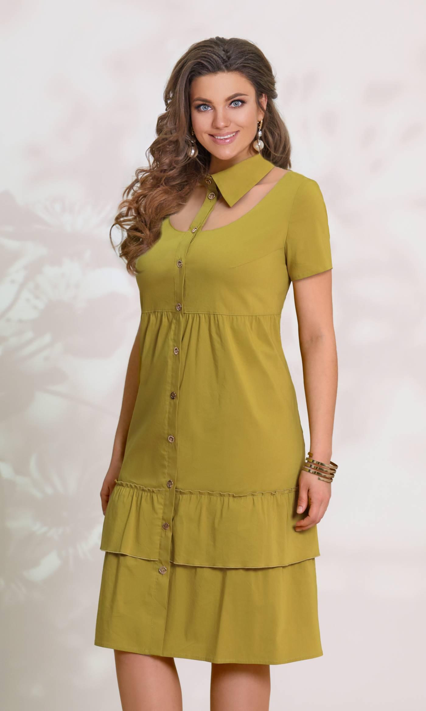 Платье Vittoria Queen 8583-Р грязно салатовый