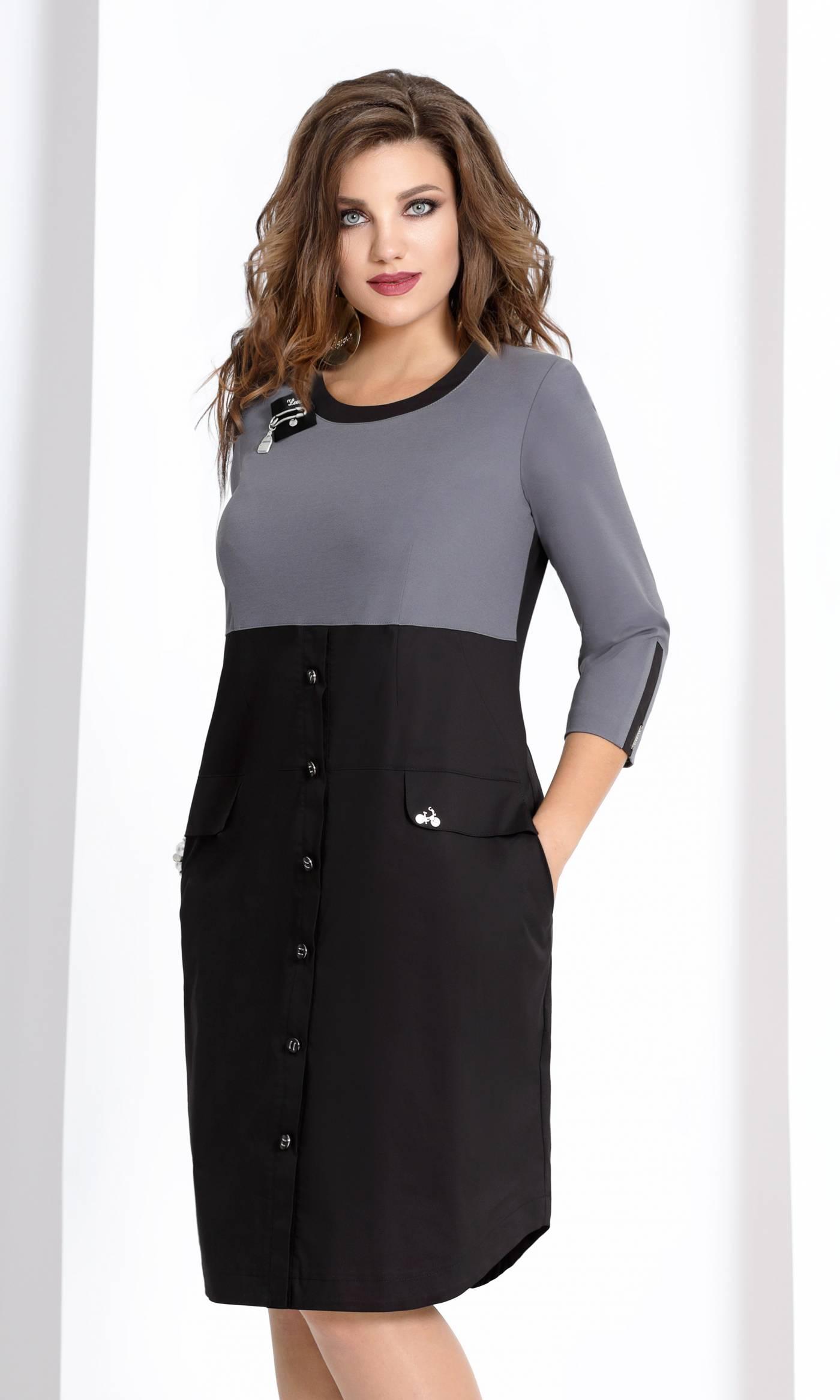Платье Vittoria Queen 6633-Р черное с серым