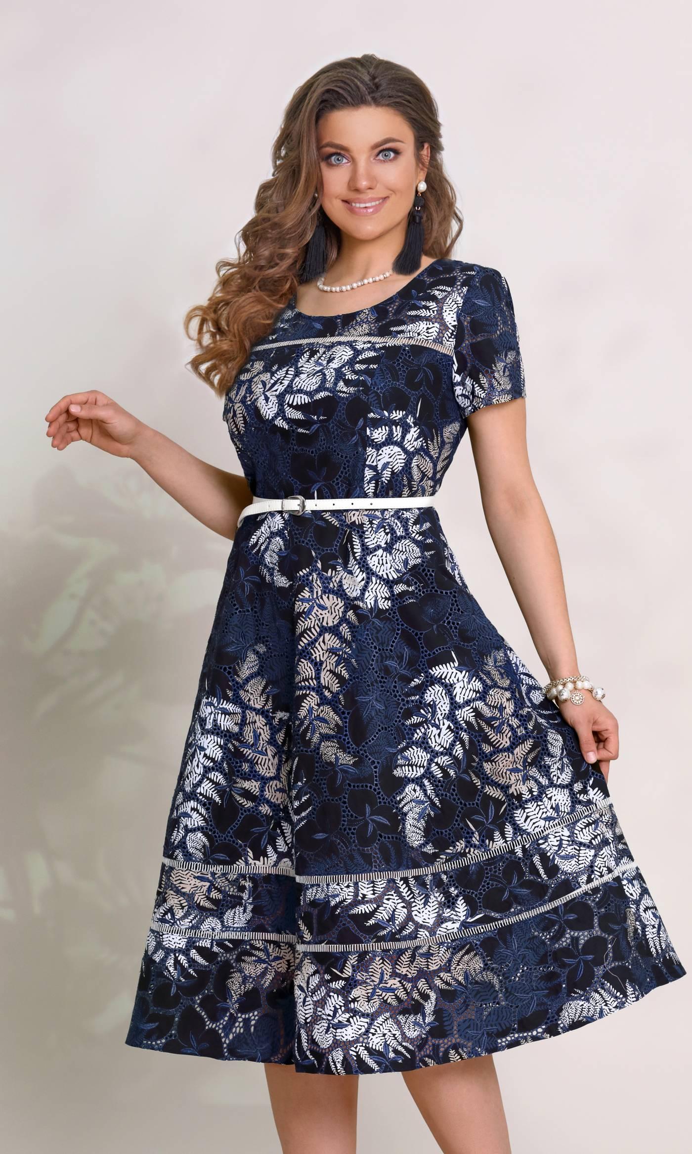 Платье Vittoria Queen 8943-Р принт / синий